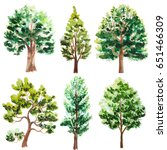 set of watercolor trees on white | Shutterstock . vector #651466309