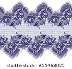 seamless vector blue lace... | Shutterstock .eps vector #651468025