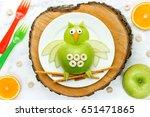 fun food art apple owl   Shutterstock . vector #651471865