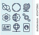 set of 9 international outline... | Shutterstock .eps vector #651472861