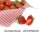 strawberries in basket  on... | Shutterstock . vector #651496624
