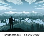 hiker enjoying landscape with... | Shutterstock .eps vector #651499909