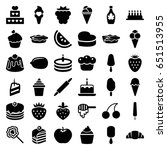 dessert icons set. set of 36... | Shutterstock .eps vector #651513955