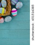 various easter eggs arranged in ... | Shutterstock . vector #651516385