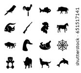 animal icons set. set of 16... | Shutterstock .eps vector #651517141