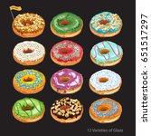 set of colorful glazed donuts... | Shutterstock .eps vector #651517297