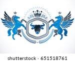 vector emblem made in vintage... | Shutterstock .eps vector #651518761