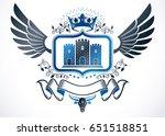 vintage winged emblem created... | Shutterstock .eps vector #651518851
