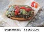 a sandwich on a vintage...   Shutterstock . vector #651519691
