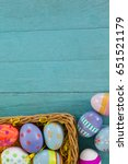 various easter eggs arranged in ... | Shutterstock . vector #651521179
