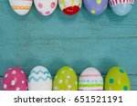 overhead view of various easter ... | Shutterstock . vector #651521191