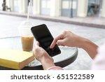 women hands use black... | Shutterstock . vector #651522589