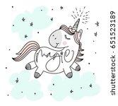 magic cute unicorn  stars ...   Shutterstock .eps vector #651523189
