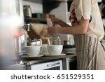 closeup of working waiter at... | Shutterstock . vector #651529351