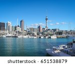 auckland harbor and sky tower ... | Shutterstock . vector #651538879