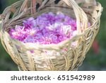 Stock photo basket with flower from pink oil roses 651542989