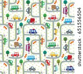 cars on the road. seamless... | Shutterstock .eps vector #651556504
