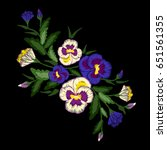 embroidery pansies bouquet ... | Shutterstock .eps vector #651561355