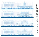 outline set of university study ... | Shutterstock .eps vector #651575575