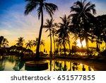 silhouette coconut palm tree... | Shutterstock . vector #651577855