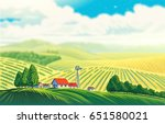 rural landscape with a... | Shutterstock . vector #651580021