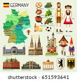map of germany and travel icons....