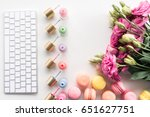 flat lay with keyboard ... | Shutterstock . vector #651627751