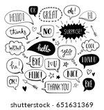 hand drawn set of speech... | Shutterstock .eps vector #651631369