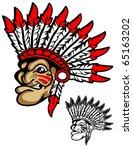 a cartoon indian chief wearing...   Shutterstock .eps vector #65163202
