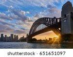 sydney city and harbour bridge... | Shutterstock . vector #651651097