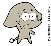 cartoon unsure elephant   Shutterstock .eps vector #651655489