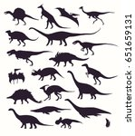set  silhouettes  dino... | Shutterstock .eps vector #651659131