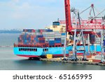 view on trading seaport with... | Shutterstock . vector #65165995