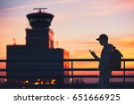 Silhouette Of The Traveler Wit...