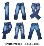 Jeans Isolated On White...