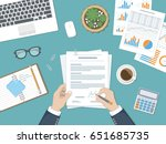 businessman signing a document. ... | Shutterstock . vector #651685735
