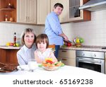 mother  daughter and father has ... | Shutterstock . vector #65169238
