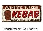kebab vintage rusty metal sign... | Shutterstock .eps vector #651705721