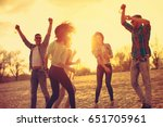 happy young people having fun... | Shutterstock . vector #651705961