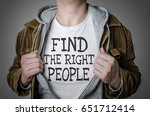 man showing find the right... | Shutterstock . vector #651712414