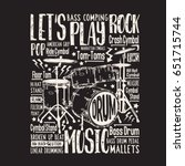 music rock drums typography ... | Shutterstock .eps vector #651715744