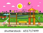 vector empty park with... | Shutterstock .eps vector #651717499