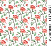 pattern with  watercolor... | Shutterstock . vector #651718534