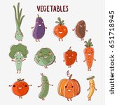 lovely vegetables vector set... | Shutterstock .eps vector #651718945