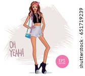 beauty fashion girl. vector... | Shutterstock .eps vector #651719239
