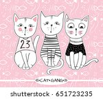 vector series with cute fashion ... | Shutterstock .eps vector #651723235