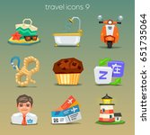 funny travel icons set 9 | Shutterstock .eps vector #651735064