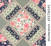 seamless floral patchwork... | Shutterstock .eps vector #651736141