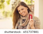cheerful excited young woman...   Shutterstock . vector #651737881