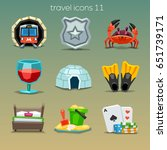 funny travel icons set 11 | Shutterstock .eps vector #651739171